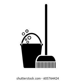 Mop vector icon on white background