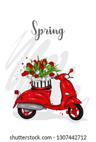 Moped and a bouquet of tulips. Vector illustration for greeting card or poster. Spring flowers.