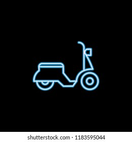 moped icon in neon style. One of motobike collection icon can be used for UI, UX on black background