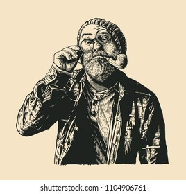 Mope-eyed Old Man In Round Glasses With Moustaches, Gray Beard and Smoking Pipe. retro engraving style. vector illustration.