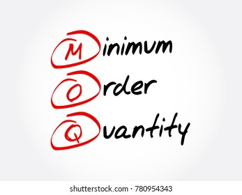 MOQ - Minimum Order Quantity acronym, business concept background