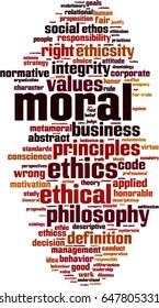 Moral word cloud concept. Vector illustration