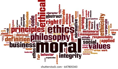 Moral word cloud concept. Vector illustration