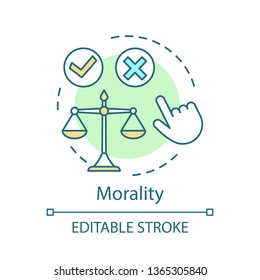 Morality concept icon. Ethical decision making idea thin line illustration. Moral choice, issue. Problem resolution. Code of conduct. Justice, honesty. Vector isolated outline drawing. Editable stroke
