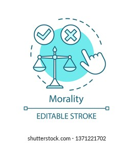 Morality concept icon. Justice idea thin line illustration. Moral choice. Problem solving. Law balance. Code of conduct. Ethical decision making. Vector isolated outline drawing. Editable stroke