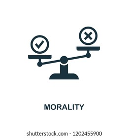 Morality icon. Monochrome style design from business ethics collection. UX and UI. Pixel perfect morality icon. For web design, apps, software, printing usage.
