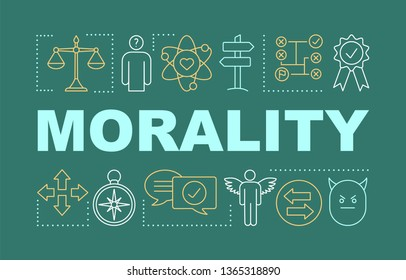 Morality word concepts banner. Reliability, honesty. Business ethics. Moral dilemma resolving. Presentation, website. Isolated lettering typography idea with linear icons. Vector outline illustration