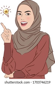 Morden smart Malay woman with hijap or tudung thinking idea