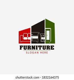 Mordern furniture logo graphic trendy design, Minimalist furniture brand business company logo Free Vector