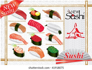 More new sushi. Super mega collection abstract illustration sign sushi on grey background.