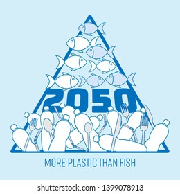 More plastic than fish in the sea by 2050. Prediction of plastic pollution crisis. Pyramid chart infographic concept. Vector illustration outline flat design style.