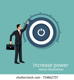 More power. Business aspirations. Vector illustration flat design. Isolated on background. Business people. Human twists handle of regulator.