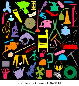 more random objects in silhouette: NO auto-trace: HIGH QUALITY vector paths. See also my Shutterstock files #13360948, #13360951, #14051254, #19737103, #26799640