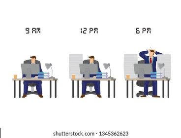 More and more work for employee as the time goes. Concept of overwork, sabotage or corporate stress. Isolated vector illustration.