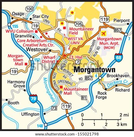 Morgantown Wv Map Morgantown West Virginia Area Map Stock Vector (Royalty Free  Morgantown Wv Map
