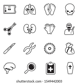 Morgue Icons. Line With Fill Design. Vector Illustration.