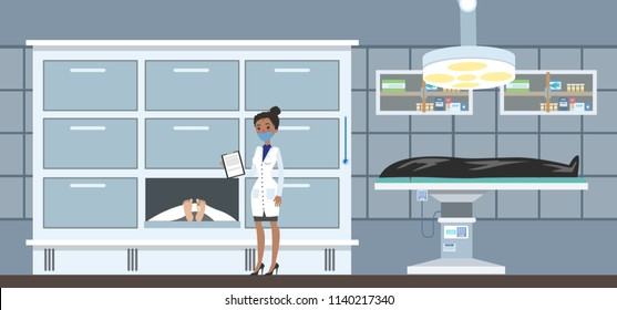 Morgue interior. Dead bodies in the mortuary. Female morgue worker standing with clipboard and looking at cadaver. Vector flat illustration