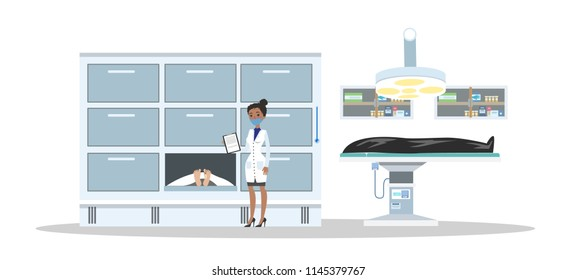 Morgue interior. Dead bodies in the mortuary. Female morgue worker standing with clipboard and looking at cadaver. Isolated vector flat illustration
