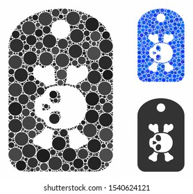 Morgue mark composition of round dots in different sizes and color tinges, based on morgue mark icon. Vector dots are composed into blue composition.