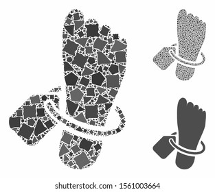 Morgue tagged foot composition of humpy parts in different sizes and shades, based on morgue tagged foot icon. Vector rugged pieces are combined into collage.