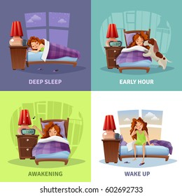 Morning awakening 2x2 design concept with cartoon compositions with young girl from deep sleep to wake up flat vector illustration