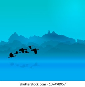Morning  background with river and birds. EPS 10 Vector