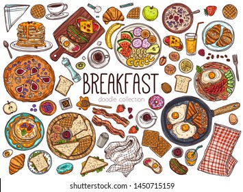 Morning breakfast dishes hand drawn illustrations set. Pancakes in plate, doughnut doodles pack. Juice glass, coffee and tea cups sketches. Fried eggs, bacon and bread in pan vector drawings