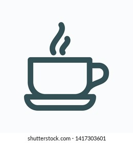 Morning breakfast isolated icon, morning cup of coffee linear vector icon