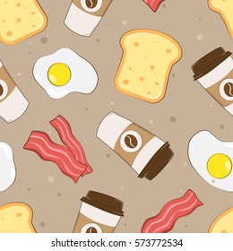 Morning breakfast seamless pattern with scrambled eggs, coffee, toast and bacon. Cartoon illustration on a brown background. Vector illustration.