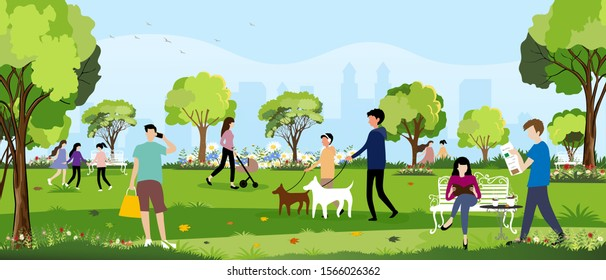 Morning city park with happy family having fun,girl walking the dog, young boy talking on phone,man reading news paper and women sitting on bench reading a book,City lifestyle of people in Summer time