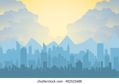 Morning city skyline. Buildings silhouette cityscape with mountains. Big city streets. sky with sun and clouds. Vector illustration