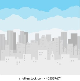 Morning city skyline. Buildings silhouette cityscape. Big city streets. Blue sky with clouds. Vector illustration