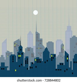 Morning city skyline. Buildings silhouette cityscape . Big city streets. Blue sky with sun. Vector illustration