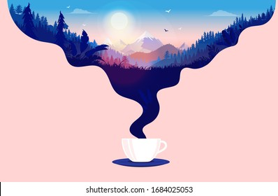 Morning coffee - Coffee cup with steam and a beautiful sunrise in a landscape with forest, mountains and blue sky. Good morning, and taking a break concept. Vector illustration.