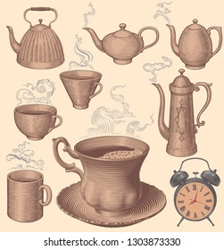Morning coffee and tea. Design set. Hand drawn engraving. Editable vector vintage illustration. Isolated on light background. 8 EPS