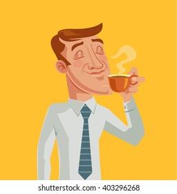Morning coffee. Vector cartoon flat illustration