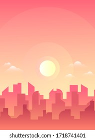 Morning, day city skyline landscape, town buildings in different time and urban cityscape town sky. Daytime cityscape. Architecture silhouette downtown vector background. Flat design