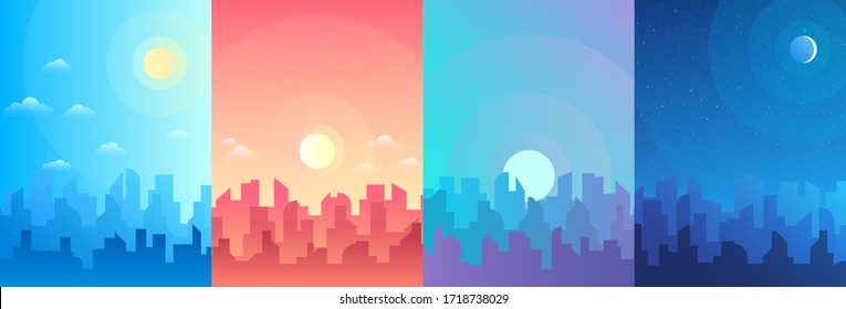 Morning, day and night city skyline landscape, town buildings in different time and urban cityscape town sky. Daytime cityscape. Architecture silhouette vector background collage set. Flat design