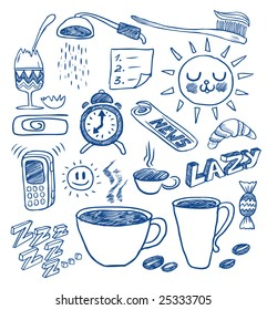 Morning doodles. Hand-drawn vector image.