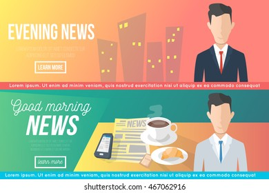 morning and evening news. vector banners set. anchorman and tv program. in cartoon style. modern design illustration