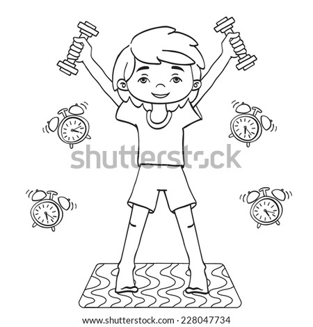 morning exercise vector contour drawing stock vector royalty free