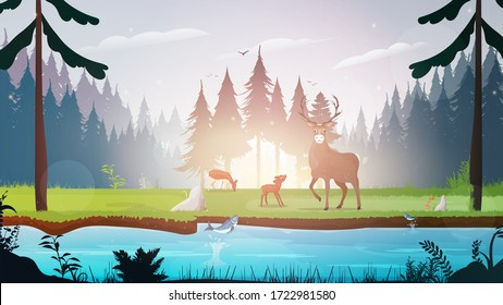 Morning in the forest. Forest with a river. Deer family in the meadow. Deer with big horns. Vector.