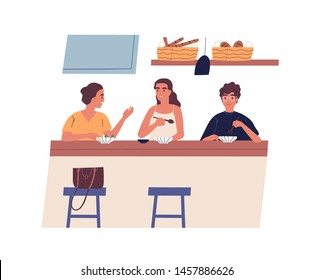 Morning friendly meeting at cafe. Group of young happy friends eating breakfast or lunch together and talking. Cute young men and women having brunch. Vector illustration in flat cartoon style.