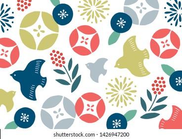 morning glory and birds Japanese pattern