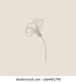 Morning glory flower minimal tattoo hand drawing isolated vector illustration