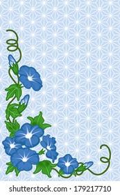 Morning glory on Japanese pattern