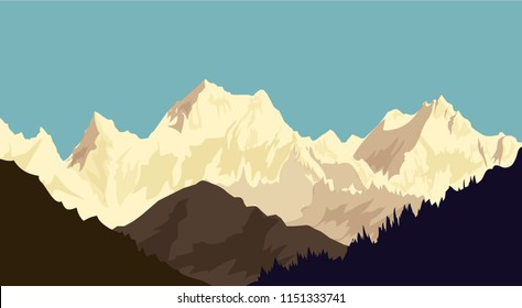 Morning Himalaya Snow Peaks Beauty of Morning Himalaya Snow peaks. It's a vector illustration.