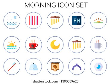 morning icon set. 15 flat morning icons.  Collection Of - night, sunrise, bacon, coffee, chimes, coffee cup, toothbrush, bell ring, noon