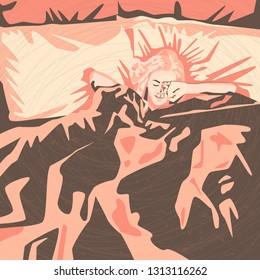 Morning illustration. awakening.  Abstract image of a girl sleeping in bed. morning. awakening.