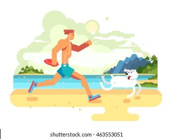 Morning jog on beach with dog